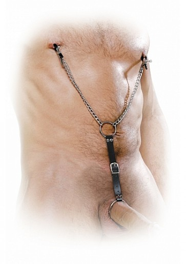 Pinze Per Capezzoli Con Anello Fallico -  Nipple Clamps & Cockring Set