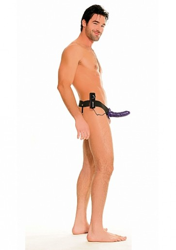 Cintura Fallica Vibrante - For Him or Her Vibrating Hollow Strap-On - Purple
