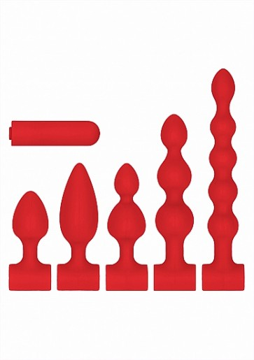 Kit Cunei Anali - Silicone USB-Rechargeable Anal Set - Red