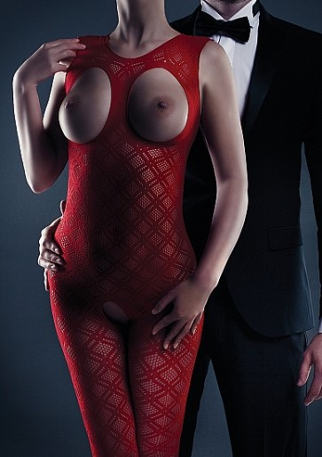 Maisie Bodystocking - Red- One Size
