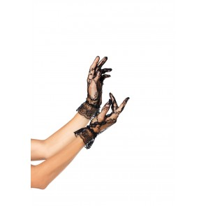 Lace Wrist Length Ruffle Gloves OS