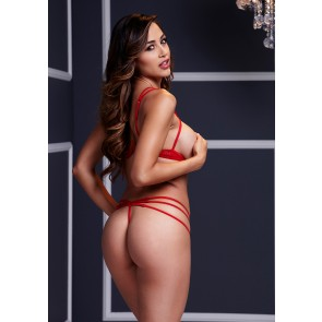 Baci - Red Strappy Open Cup Bra Set & Panty