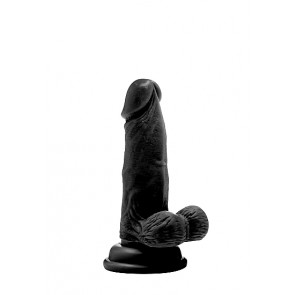 """Realistic Cock - 6"""" - With Scrotum - Black"""